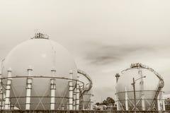 Spherical tanks in refineries Stock Photos