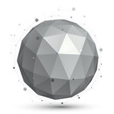 Spherical vector monochrome digital eps8 object, dimensional tec Royalty Free Stock Photos