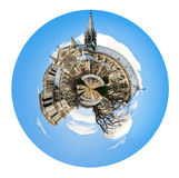 Spherical view of cathedral Notre Dame de Paris Royalty Free Stock Images