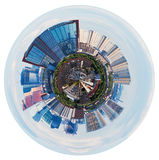 Spherical view of Moscow with tower buildings Stock Photography