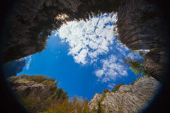 Spherical view of the rocks and sky. Royalty Free Stock Photo