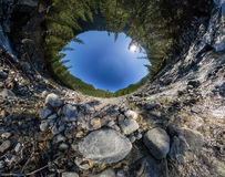 Spherical VR panorama 360180 mountain river flows into the fores Stock Images