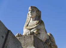 Sphinx égyptien en stationnement de la retraite plaisante Photographie stock libre de droits
