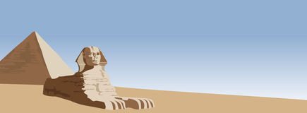 Sphinx. Background illustration of the sphinx and the pyramid Royalty Free Stock Image