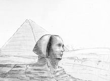 Sphinx. Illustration of egyptian pyramids and sphinx with his nose not yet damaged Stock Image