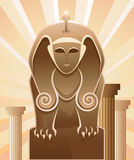 Sphinx. Woman sphinx and old column Royalty Free Stock Photography