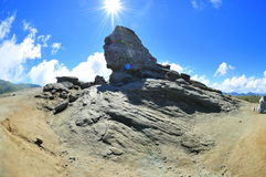 The Sphinx of Bucegi mountains. Humanoid rock formation in Bucegi mountains called the Sphinx stock images