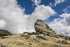The Sphinx of Bucegi. In the Bucegi Natural Park, Carpathian Mountains, Romania, on a sunny summer day Royalty Free Stock Image