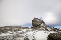 Sphinx of Bucegi in Romania. A wide shot of the famous Romanian Sphinx located in the Bucegi mountains Royalty Free Stock Photos