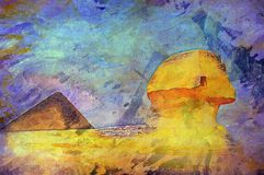 Sphinx cairo egypt. Oil painting of an ancient wonder of the world sphinx cairo egypt Stock Photos