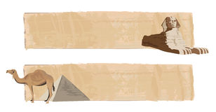 Sphinx and Camel. Papyrus banners with sphinx and camel Stock Image