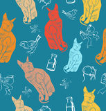 Sphinx cat seamless pattern. Royalty Free Stock Images