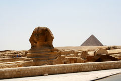 Sphinx and Chefren pyramid Stock Image
