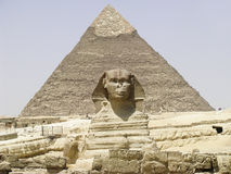 The Sphinx and Chephren Pyramid. Gizeh Egypt royalty free stock images