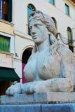 Sphinx in Cima Square, Conegliano Veneto, Italy, close up. Sphinx statue and architecture in Cima Square in Conegliano Veneto, Treviao, Italy, Europe, close up Royalty Free Stock Image