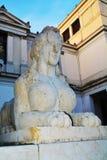 Sphinx in Conegliano Veneto, Treviso, Italy. Sphinx statue and the Accademy Theatre, in Piazza Cima, in Conegliano Veneto, Treviso province, north Italy Stock Image