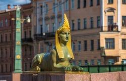 Sphinx de pont égyptien au-dessus de la rivière de Fontanka, St Petersburg Image libre de droits