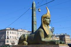 sphinx Den Fontanka flodinvallningen i StPetersburg Royaltyfri Fotografi