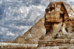 The Sphinx. Digital painting of the Sphinx by the pyramids of Giza in Egypt Royalty Free Stock Photos