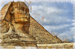 The Sphinx drawing. Drawing of the famous Sphinx by the pyramids of Giza in Egypt Stock Image