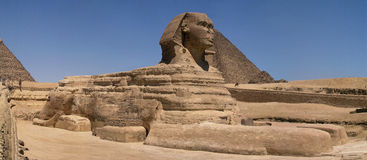 Sphinx e pirâmide Imagens de Stock