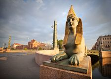 Sphinx on Egyptian Bridge in St.Petersburg Royalty Free Stock Photography