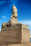 Sphinx on embankment of the river Neva Stock Photo