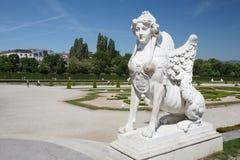 Sphinx en parc de palais de belvédère, appartenu à prince Eugen photos stock