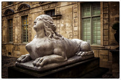 Sphinx. At the entrance of Hotel de Sully, Paris, France Stock Images