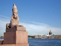sphinx för flod för neva för egypt invallninggranit Arkivfoto