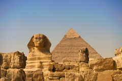 The Sphinx of Giza. The Sphinx and Pyramid at Giza in Cairo royalty free stock photo