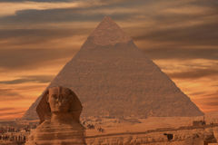 Sphinx at Giza. Giza Pyramids at Giza with Sphinx in foreground Cairo, Egypt Royalty Free Stock Photos
