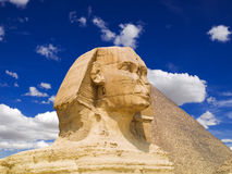 The Sphinx of Giza. The Sphinx and the Great pyramid of Cheops. Egypt Series Stock Photography