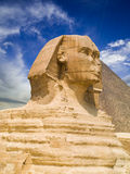 The Sphinx of Giza. The Sphinx and the Great pyramid of Cheops. Egypt Series Stock Photo