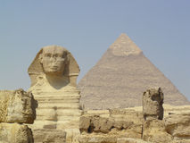 Sphinx at Giza. Sphinx and Ceops pyramid at  Giza in Cairo Stock Photo