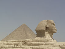 Sphinx at Giza. Sphinx and Ceops pyramid at  Giza in Cairo Stock Image