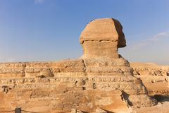 Sphinx at Giza, Egypt. The Sphinx the statue of lion body with human head on Pyramids area Giza, Egypt Stock Photo