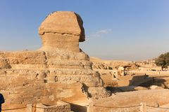 Sphinx at Giza, Egypt. The Sphinx the statue of lion body with human head on Pyramids area Giza, Egypt Stock Photos
