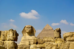 The Sphinx and Giza great Pyramid. Under blue skies Stock Photo