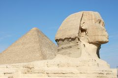 Sphinx and Giza Pyramid Royalty Free Stock Photos