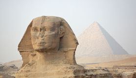 The Sphinx at Giza and pyramid Royalty Free Stock Images