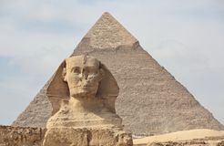 The Sphinx at Giza and pyramid Royalty Free Stock Photography