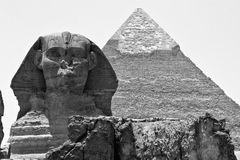 Sphinx and Giza Pyramids Stock Photo