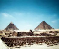 Sphinx and Giza's Great Pyramids. Sound and Light Theater with great Sphinx and pyramids of Giza Stock Photography