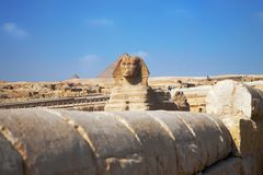 Sphinx of Giza view on blue sky background royalty free stock images