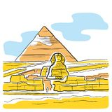 Sphinx and Great Pyramid Stock Photography