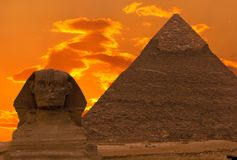 The Sphinx and the Great Pyramid Royalty Free Stock Image