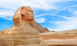 The Sphinx and the Great Pyramid, in Egypt. royalty free stock photo