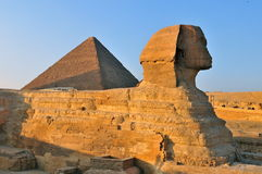 Sphinx and the great pyramids,Cairo royalty free stock image