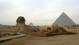 The Sphinx Great Pyramids Of The Giza Plateau. The Great Pyramids Of The Giza Plateau with The Sphinx Stock Photo